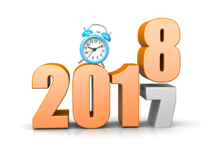 alarmclock: Orange 2018 Year Number Text on Top of 2017 with Blue Alarm Clock on White Background 3D Illustration. Time Passes Concept