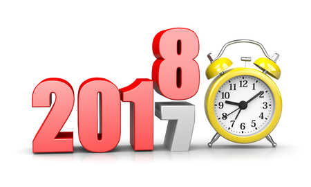 alarmclock: Red 2018 Year Number Text on Top of 2017 with Yellow Alarm Clock on White Background 3D Illustration. Time Passes Concept