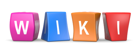 wiki: Wiki White Text on Colorful Deformed Funny Cubes 3D Illustration on White Background