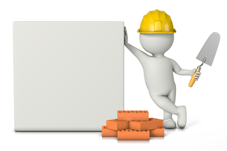 leaned: Bricklayer, White 3D Character with Hard Hat, Bricks and Trowel Work Tools Leaned on a Blank Squared Bill 3D Illustration