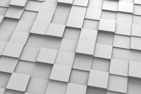 Square-Shaped Tiles Arranged in Random Height Stock Photo