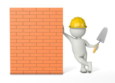 職人、こて作業工具ハード帽子と白の 3 D キャラクターにもたれかかられてレンガ壁の 3 D 図