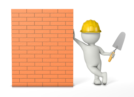 leaned: Bricklayer, White 3D Character with Hard Hat and Trowel Work Tools Leaned on a Brick Wall 3D Illustration