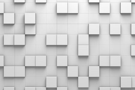 Wall of Square-Shaped Tiles Arranged in Random Height