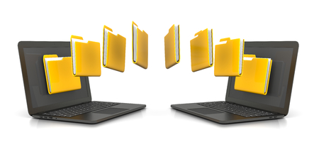 Two Laptop Computers Transferring Yellow Folders Data, 3D Illustration Isolated on White Background Stock fotó - 87017334