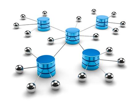 Metallic Spheres Linked to Blue Metallic Cylinders 3D Illustration on White Background, Network Computing Data Storage Concept Stock Photo