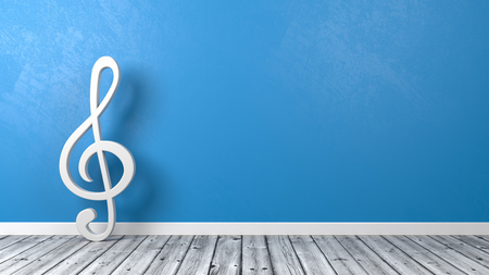 White Musical Violin Clef Shape on Wooden Floor Against Blue Wall with Copyspace 3D Illustration