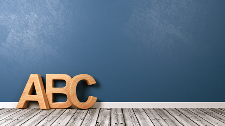 Wooden ABC Letters Shape on Wooden Floor Against Blue Wall with Copyspace 3D Illustration Stock Photo