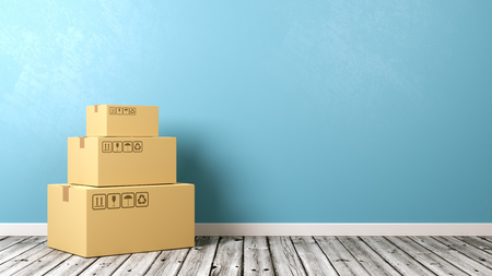 Heap of Closed Cardboard Box on Wooden Floor Against Blue Wall with Copyspace 3D Illustration Stock Photo