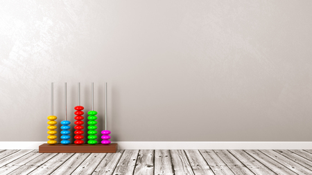 Colorful Wooden Abacus on Wooden Floor Against Grey Wall with Copyspace 3D Illustration