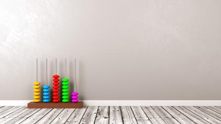 Copyspace 3D 일러스트와 함께 회색 벽에 나무 바닥에 다채로운 나무 줄