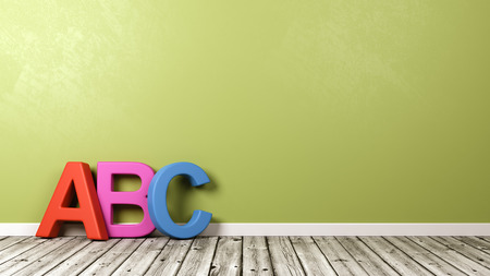 Colorful ABC Text Shape on Wooden Floor Against Green Wall with Copyspace 3D Illustration