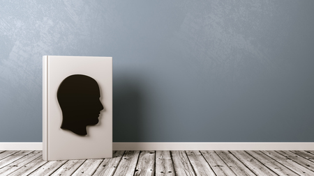 White Book Upright with Human Head Shape on the Cover on Wooden Floor Against Grey Wall with Copyspace 3D Illustration, Biography Concept 版權商用圖片