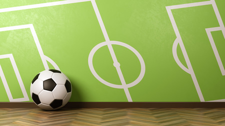 Classic Soccer Ball on Wooden Floor Against Green Wall with Soccer Field Draw 3D Illustration