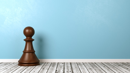 One Black Wooden Chessman on Wooden Floor Against Blue Wall with Copyspace 3D Illustration Stock Photo