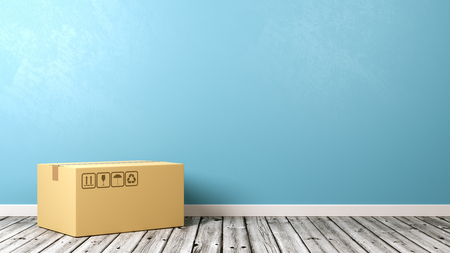 One Single Closed Cardboard Box on Wooden Floor Against Blue Wall with Copyspace 3D Illustration