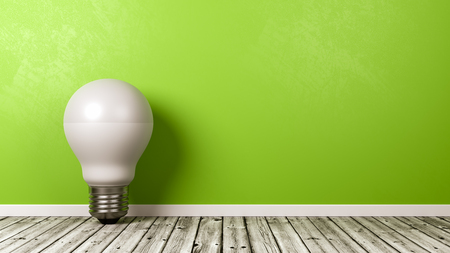 Single LED Lamp on Wooden Floor Against Green Wall with Copyspace 3D Illustration