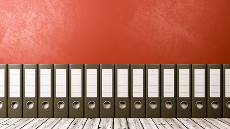 Row of Binders on Wooden Floor Against Red Wall with Copyspace 3D Illustration, Archives Concept