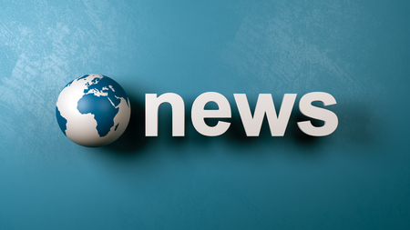 White News 3D Text and Earth Globe Against Blue Wall 3D Illustration