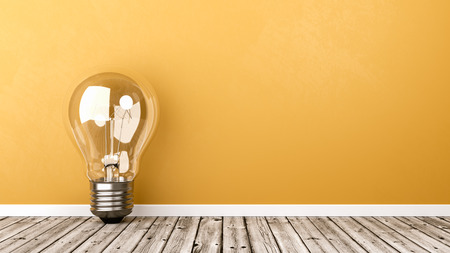 Single Light Bulb on Wooden Floor Against Yellow Wall with Copyspace 3D Illustration Imagens