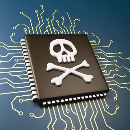 Computer Processor with Pirate Symbol Skull 3D Illustration, Security Concept