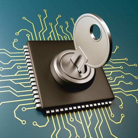 Computer Processor with Key 3D Illustration, Security Concept
