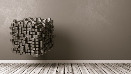Cubes Aggregation in the Room with Copyspace 3D Illustration Stock fotó