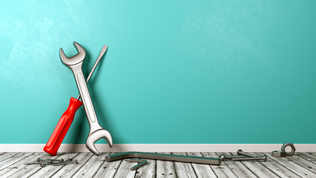 Work Tools on Wooden Floor Against Blue Wall with Copy Space 3D Illustration
