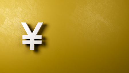 White Yuan or Yen Chinese and Japanese Currency Symbol Shape Against Yellow Wall with Copy Space 3D Illustration