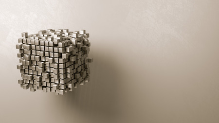 Cubes Aggregation on Grey Background with Copyspace 3D Illustration Stock fotó