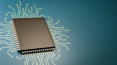 Computer Processor with Integrated Circuit with Copyspace 3D Illustration