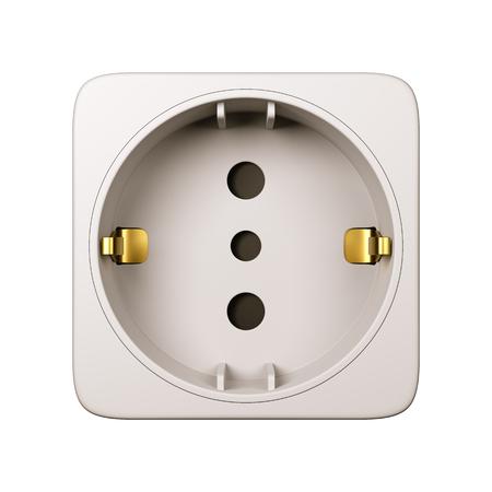 Stopcontact geïsoleerd op witte achtergrond Close-up 3D illustratie
