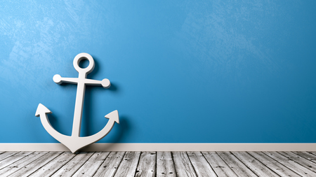 White Naval Anchor Symbol Shape on Wooden Floor Against Blue Wall with Copy Space 3D Illustration