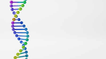Colorful DNA Chain on Gray Background with Copyspace 3D Illustration