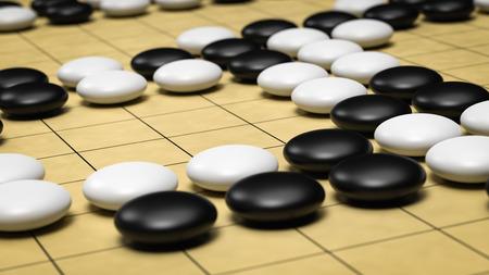 Go Board Game Close-up 3D Render Banque d'images - 95745408