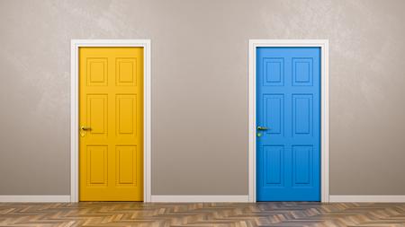 Due porte chiuse con colore differente nella parte anteriore nell'illustrazione della stanza 3D, concetto Choice