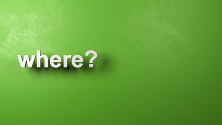 White Where Question Text Against a Plastered Green Wall with Copyspace, 3D Illustration