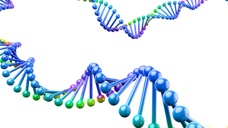 Colorful DNA Chain Isolated on White Background with Copyspace 3D Illustration Imagens