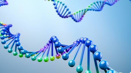 Colorful DNA Chain on Blue Background 3D Illustration