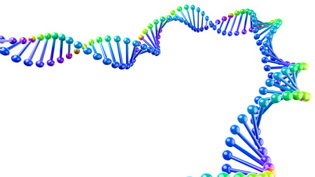 Colorful DNA Chain Isolated on White Background with Copyspace 3D Illustration Stock Photo