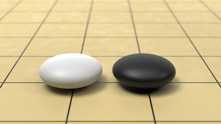 Go Game Board Close-up with One White and One Black Stone 3D Render, Challenge Concept Stock Photo