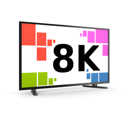 8K Ultra High Definition Television Set on White Background 3D Illustration