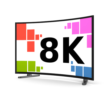 8K Ultra High Definition Television Set with Curved Screen on White Background 3D Illustration Stock Photo