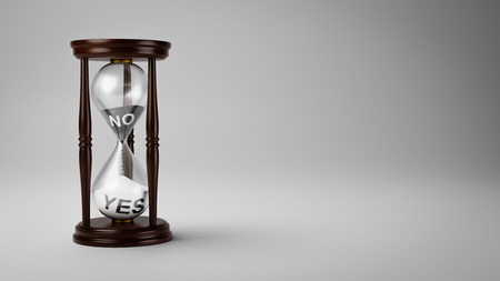 Hourglass with Black and White No and Yes Text in the Sand on Gray Background with Copyspace 3D Illustration, Change Opinion Over Time Concept Stock Photo