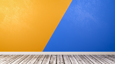 Empty Room with Wooden Floor and Two Colors Duotone Orange and Blue Wall Background with Copyspace 3D Illustration