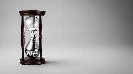 Hourglass with Black and White Yes and No Text in the Sand on Gray Background with Copyspace 3D Illustration, Change Opinion Over Time Concept Stock Photo