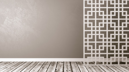 Empty Room with White Oriental Style Lattice Partition, Wooden Floor and Gray Wall with Copy Space 3D Illustration