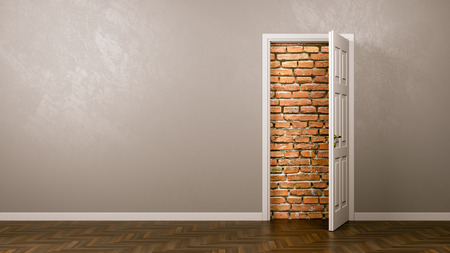 Open Door with Wall of Bricks Behind 3D Illustration with Copyspace
