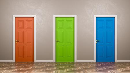 Drei geschlossene Türen mit unterschiedlicher Farbe in der Front in der Illustration des Raumes 3D, auserlesenes Konzept