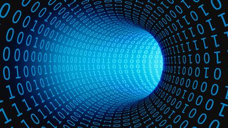 Binary Code Data Transmission in a Tunnel, 3D Illustration Foto de archivo